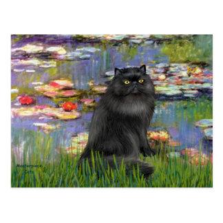 Lirios 2 - Gato persa (negro) Postal