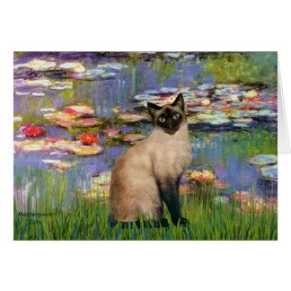 Lirios 2 - Gato siamés del punto del sello Tarjeta De Felicitación
