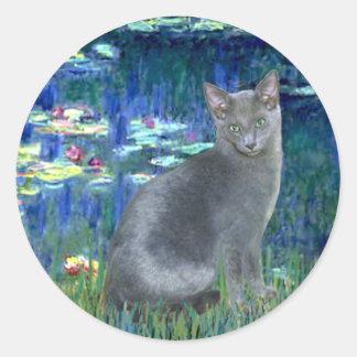 Lirios 5 - Gato azul ruso 2 Etiqueta Redonda
