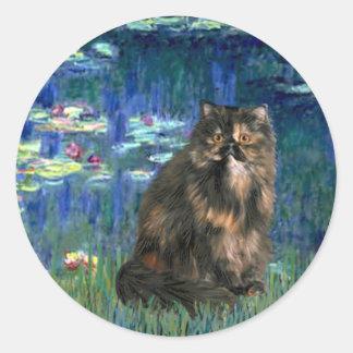 Lirios 5 - Gato de calicó de Persiasn Pegatinas Redondas
