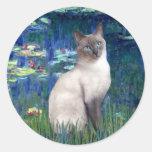 Lirios 5 - Gato siamés del punto azul Pegatina Redonda