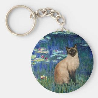 Lirios 5 - Gato siamés del punto del sello Llavero Redondo Tipo Pin