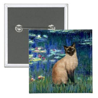 Lirios 5 - Gato siamés del punto del sello Pin Cuadrado