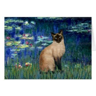 Lirios 5 - Gato siamés del punto del sello Tarjeta De Felicitación