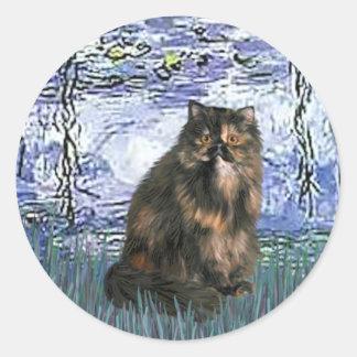 Lirios 6 - Gato de calicó persa Pegatina Redonda