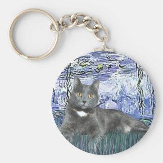 Lirios 6 - Gato gris Llavero Redondo Tipo Pin