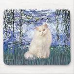Lirios 6 - Gato persa blanco Alfombrilla De Raton