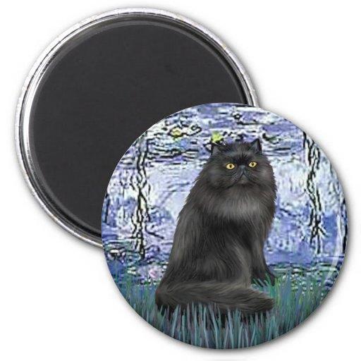 Lirios 6 - gato persa negro iman para frigorífico