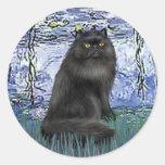 Lirios 6 - gato persa negro pegatinas redondas