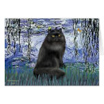 Lirios 6 - gato persa negro tarjeton