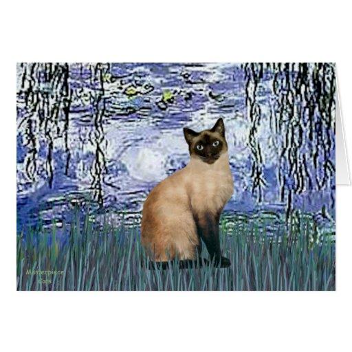 Lirios 6 - Gato siamés del punto del sello Tarjeta De Felicitación