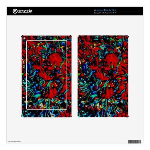 Lirios abstractos de la araña roja pegatinas skins para kindle fire