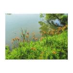 Lirios alrededor del lago impresión de lienzo