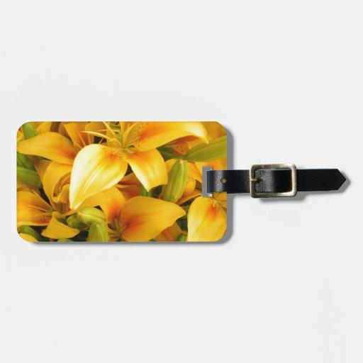 Lirios amarillos etiqueta para equipaje