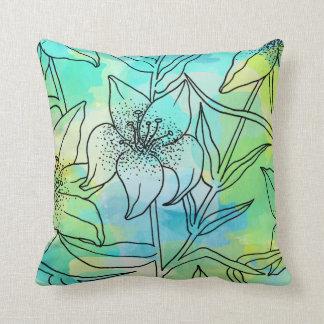Lirios azules y verdes de la acuarela almohada