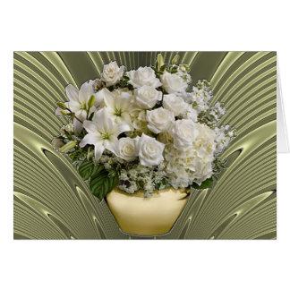 lirios blancos 18K y rosas de oro Tarjeta Pequeña