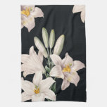 Lirios blancos y negros dramáticos toalla