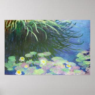 Lirios con las reflexiones altas Claude Monet de Póster