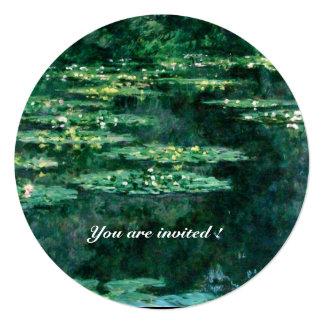 LIRIOS de AGUA 2, amarillo verde Invitación 13,3 Cm X 13,3cm