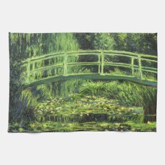 Lirios de agua blanca de Monet, impresionismo del  Toalla De Cocina