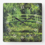 Lirios de agua blanca de Monet, impresionismo del  Reloj De Pared