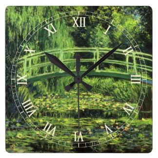 Lirios de agua blanca de Monet impresionismo del Reloj De Pared