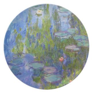 Lirios de agua, Claude Monet 1915 fresco, viejos,  Plato Para Fiesta