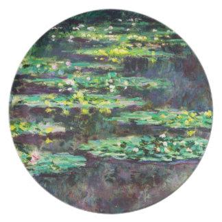 Lirios de agua Claude Monet fresco, viejo, princip Plato Para Fiesta