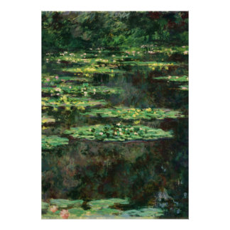 Lirios de agua con reflexiones, Claude Monet Póster
