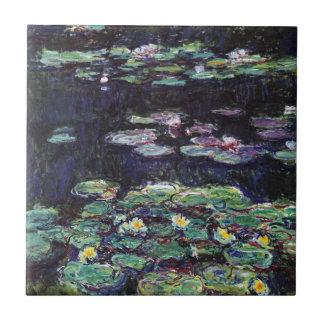Lirios de agua de Claude Monet Azulejo Cuadrado Pequeño
