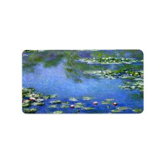Lirios de agua de Claude Monet Etiqueta De Dirección