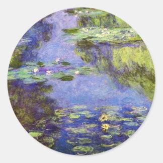 Lirios de agua de Claude Monet Etiqueta Redonda