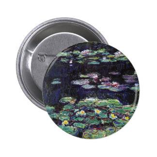 Lirios de agua de Claude Monet Pin Redondo De 2 Pulgadas
