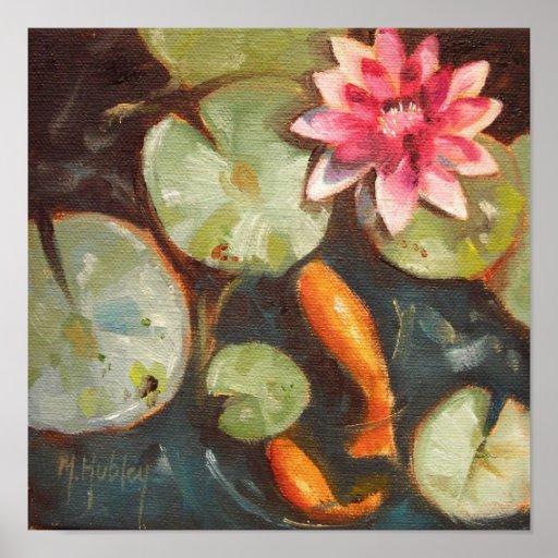 Lirios de agua de la charca de Koi de los pescados Poster