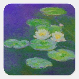 Lirios de agua de Monet 1897 pegatinas Pegatina Cuadrada