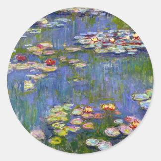 Lirios de agua de Monet 1916 pegatinas Pegatina Redonda