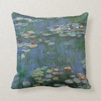 Lirios de agua de Monet del vintage Cojin