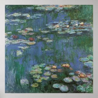 Lirios de agua de Monet del vintage Póster