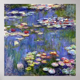 Lirios de agua de Monet en el poster del mate de l