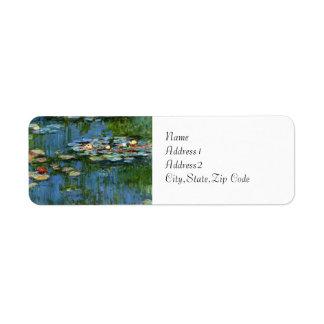 Lirios de agua de Monet Etiqueta De Remite