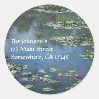 Lirios de agua de Monet impresionismo del vintage Pegatina Redonda