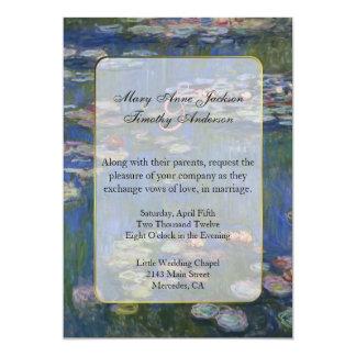 Lirios de agua de Monet que casan la invitación