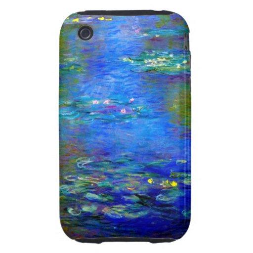 Lirios de agua de Monet v4 Tough iPhone 3 Funda