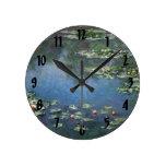 Lirios de agua, Monet, flores del impresionismo Relojes De Pared
