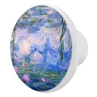 Lirios de agua pomo de cerámica