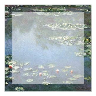 """Lirios de agua por impresionismo floral del invitación 5.25"""" x 5.25"""""""