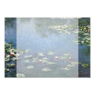"""Lirios de agua por impresionismo floral del invitación 3.5"""" x 5"""""""