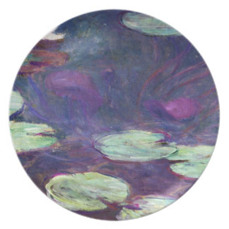 Lirios de agua, rosa, Claude Monet 1897-99 fresco, Plato