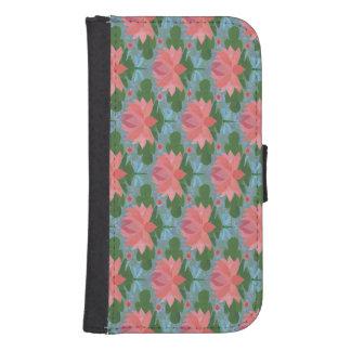 Lirios de agua rosados, caja de la cartera de las billetera para teléfono