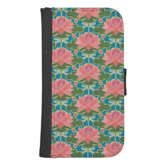 Lirios de agua rosados, caja de la cartera de las fundas billetera de galaxy s4
